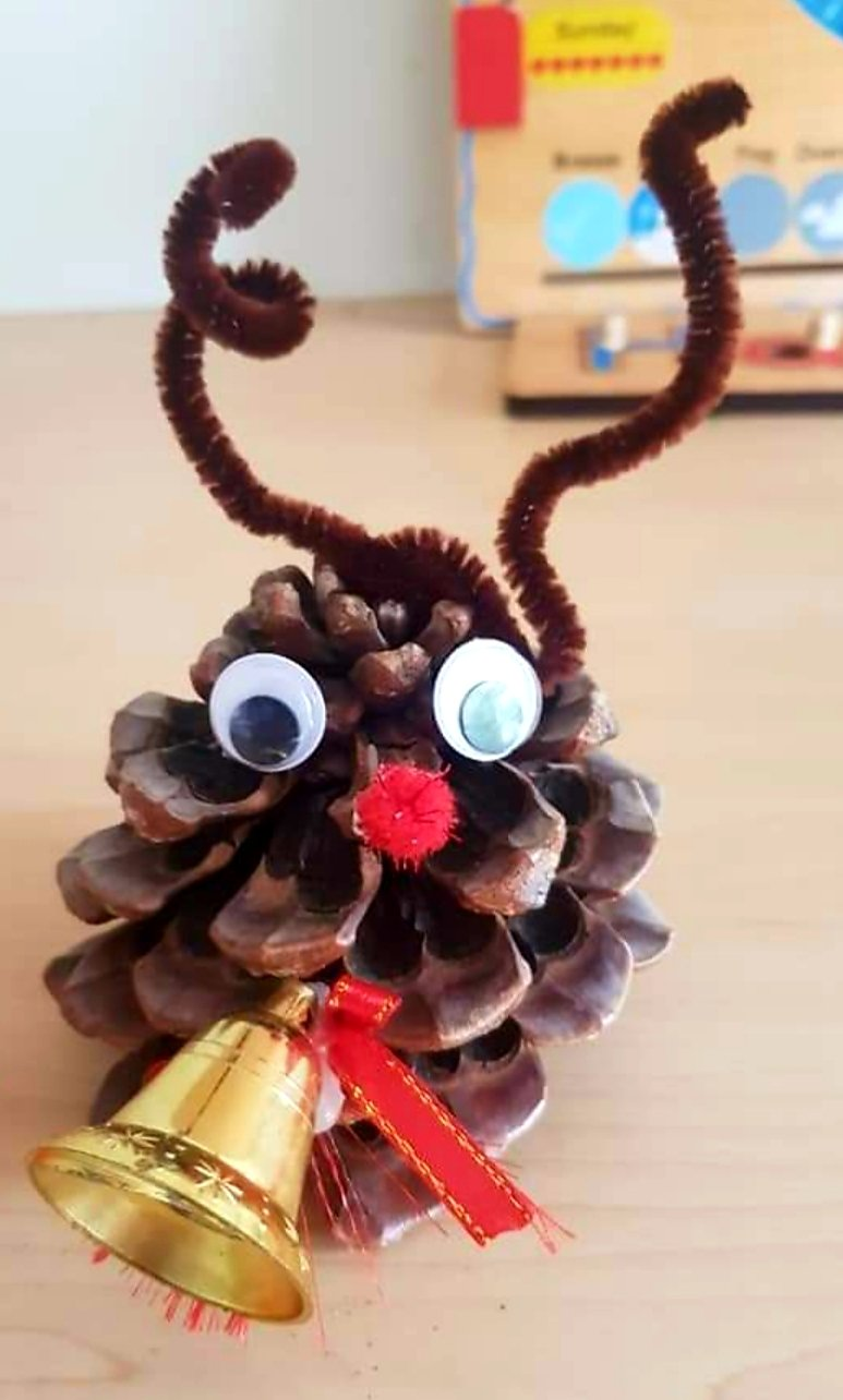 Reindeer made from pinecones